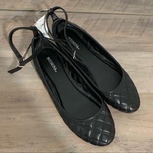 Merona Black Quilted Flats NWT sz 9.5